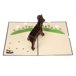 image taken from above of Brown Labradors Pop Up Card fully open