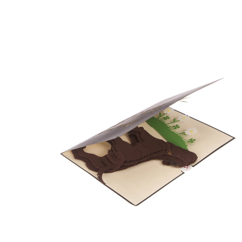 Brown Labradors Pop Up Card slightly open at 45 degrees on a white surface
