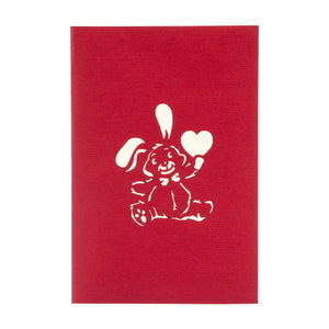 Anniversary Cards - Love Bunny Pop Up card red cover