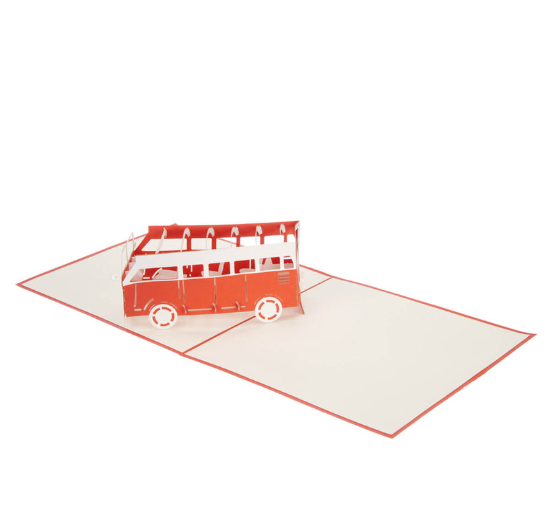 orange vw campervan pop up card fully open at 180 degrees