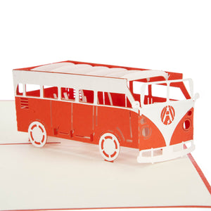 close up image of orange vw campervan pop up card