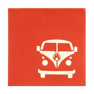 Image of vw campervan pop up card orange cover