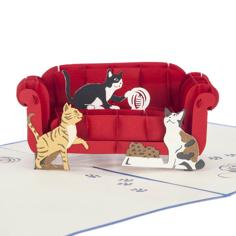 Cats On A Sofa Pop Up Card