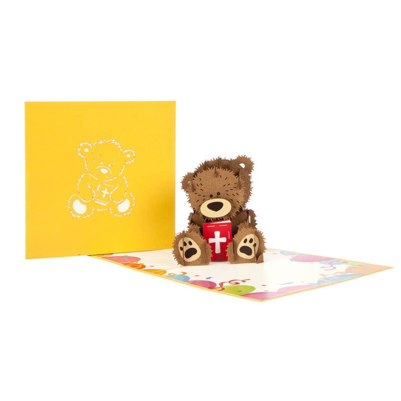 image of christening bear pop up card fully open with card cover behind