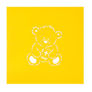 Close up image of Christening Bear Pop Up Card yellow cover