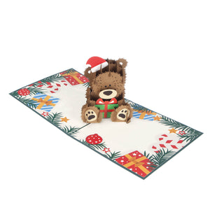 image of babys first christmas card featuring a 3D christmas teddy bear open fully at 180 degrees on a white background