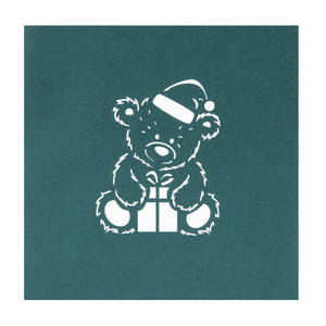 Close up image of Christmas Bear Pop Up Card Cover in green