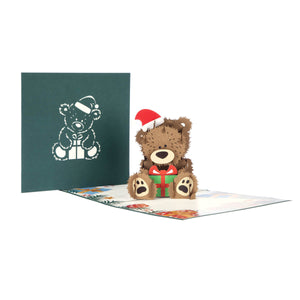 image of christmas bear pop up card fully open with cover behind