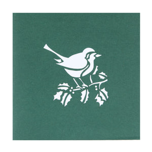 Close up image of Christmas Robin Pop Up Card Green Cover