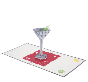Cocktail Glass Pop Up Card featuring a 3D cocktail glass with an olive inside, fully open at 180 degrees