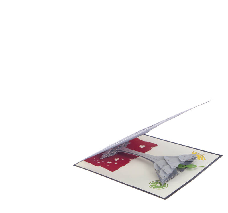 Cocktail Glass Pop Up Card featuring a 3D cocktail glass with an olive inside, slightly open at 45 degree angle