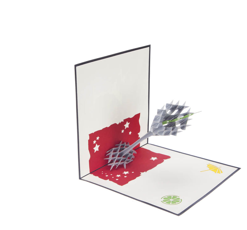Cocktail Glass Pop Up Card featuring a 3D cocktail glass with an olive inside, half open at 90 degrees