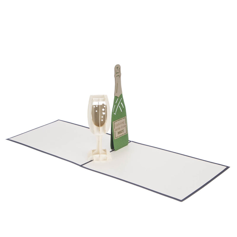 congratulations card featuring a 3D champagne flute filled with bubbly and a green champagne bottle, fully open