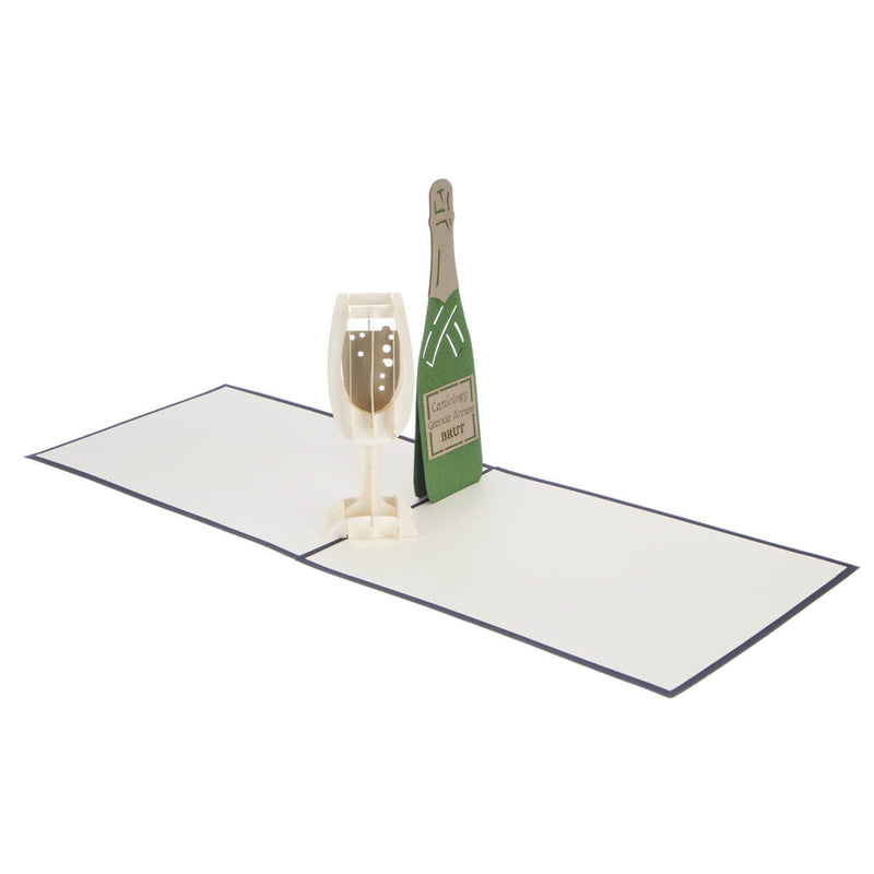 congratulations card featuring a 3D champagne flute filled with bubbly and a green champagne bottle, fully open at 180 degrees