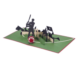 Cricket Pop Up Card featuring a 3D cricket scene with a batsman, wicket keeper, cricket ball and spectators, fully opened at 180 degrees