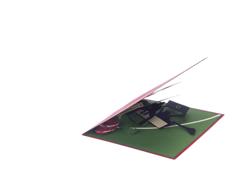 Cricket Pop Up Card featuring a 3D cricket scene with a batsman, wicket keeper, cricket ball and spectators, slightly opened at 45 degree angle