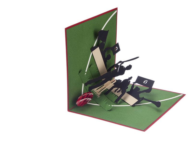 Cricket Pop Up Card featuring a 3D cricket scene with a batsman, wicket keeper, cricket ball and spectators, half opened at 90 degrees