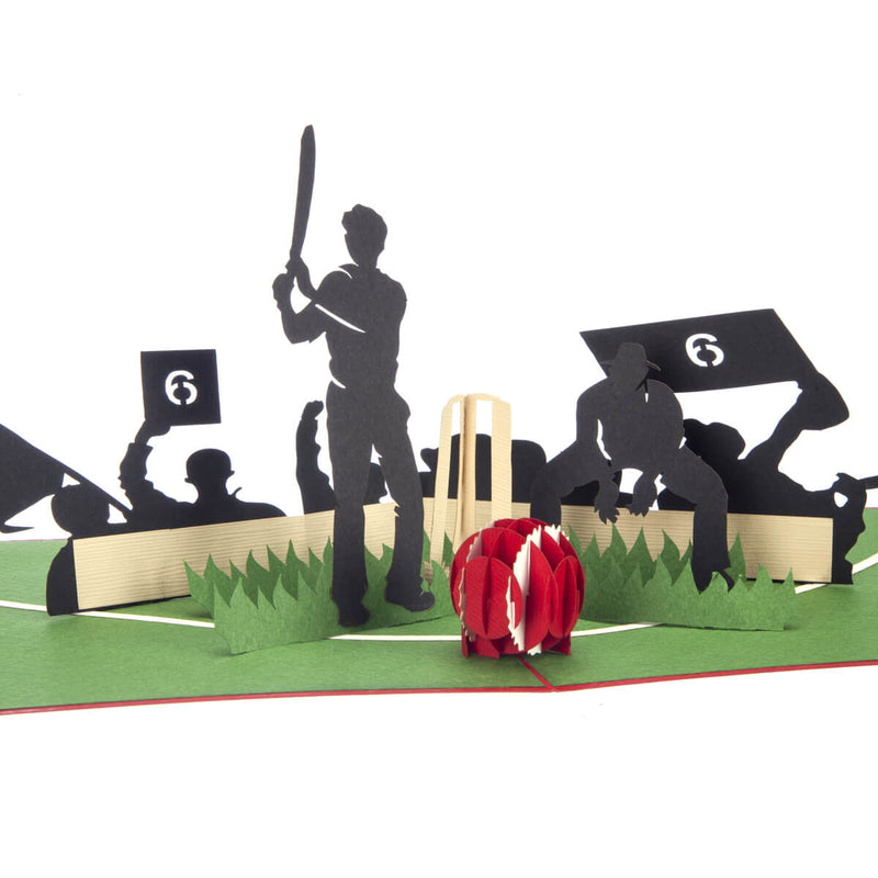 close up image of Cricket Pop Up Card featuring a 3D cricket scene with a batsman, wicket keeper, cricket ball and spectators