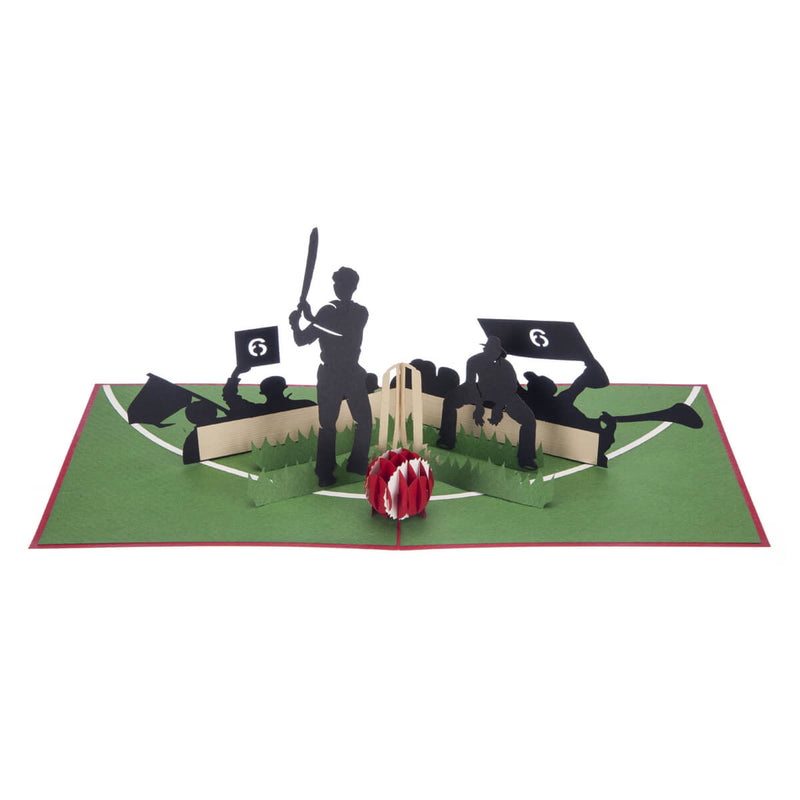 Cricket Pop Up Card featuring a 3D cricket scene with a batsman, wicket keeper, cricket ball and spectators, fully opened