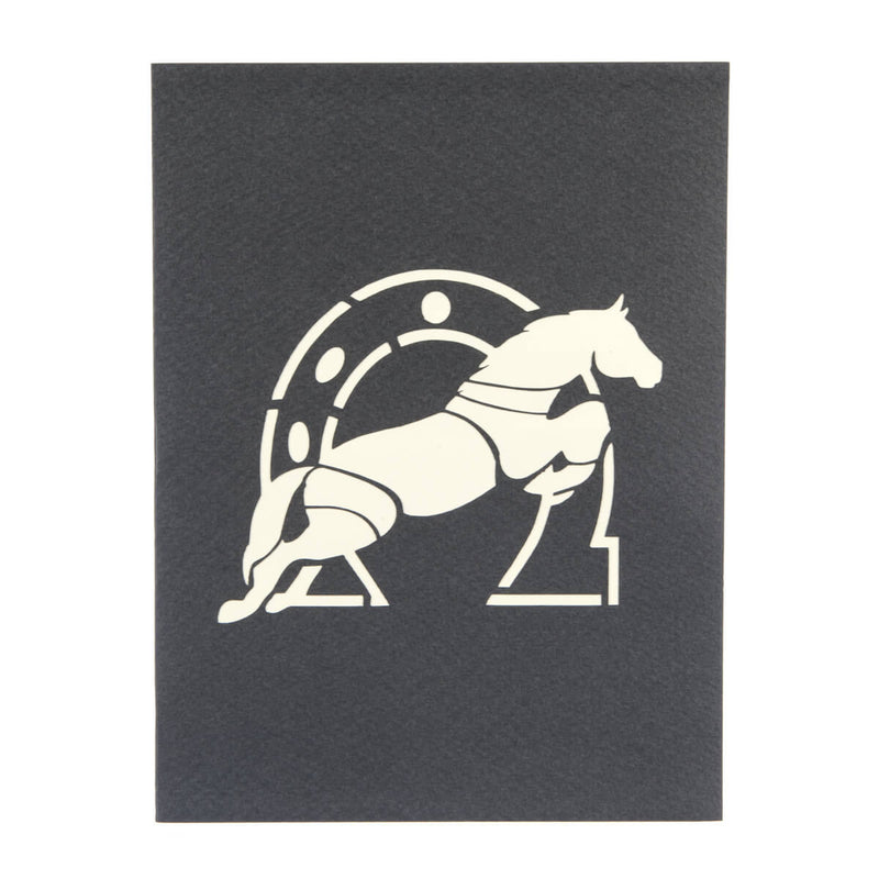 Cross Country Pop Up Card Cover featuring a horse and horseshoe on grey background