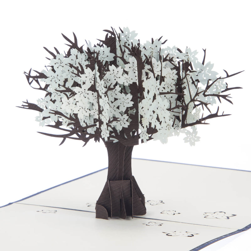 Close up image of Diamond Wedding Anniversary Card featuring a tree with ice blue leaves