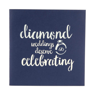 Close up image of Diamond Wedding Anniversary Card blue cover which reads