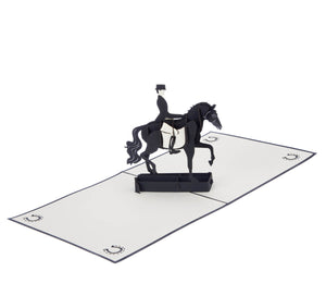 Dressage Pop Up Card featuring a 3D black horse and rider, fully open at 180 degrees