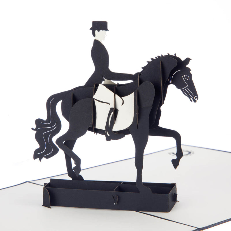 close up image of Dressage Pop Up Card featuring a 3D black horse and rider