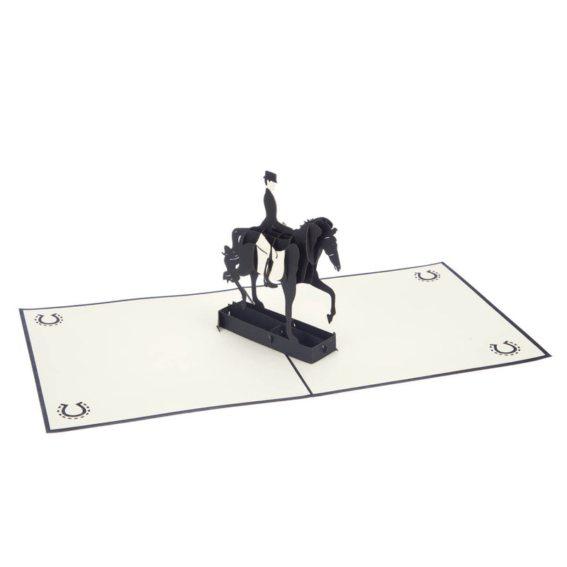 Dressage Pop Up Card featuring a 3D black horse and rider, fully open