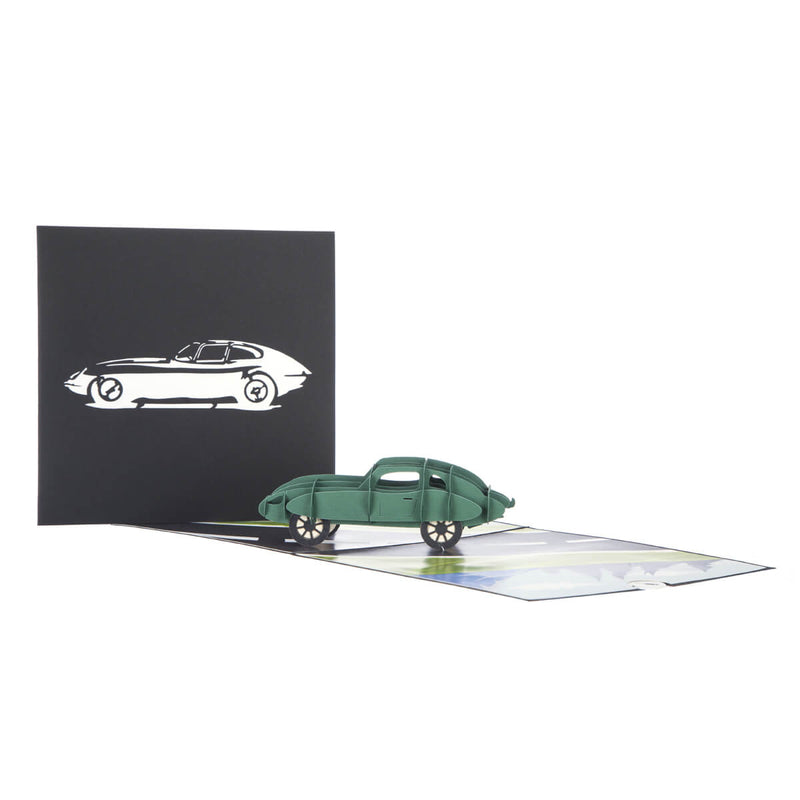 Jaguar E-Type Pop Up Card fully open with card cover behind it