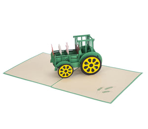 Farm Yard Animals Pop Up Card featuring a 3D John Deere inspired tractor filled with farm animals, fully open at 180 degrees