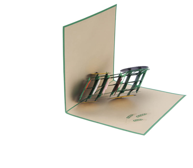 Farm Yard Animals Pop Up Card featuring a 3D John Deere inspired tractor filled with farm animals, half open at 90 degrees