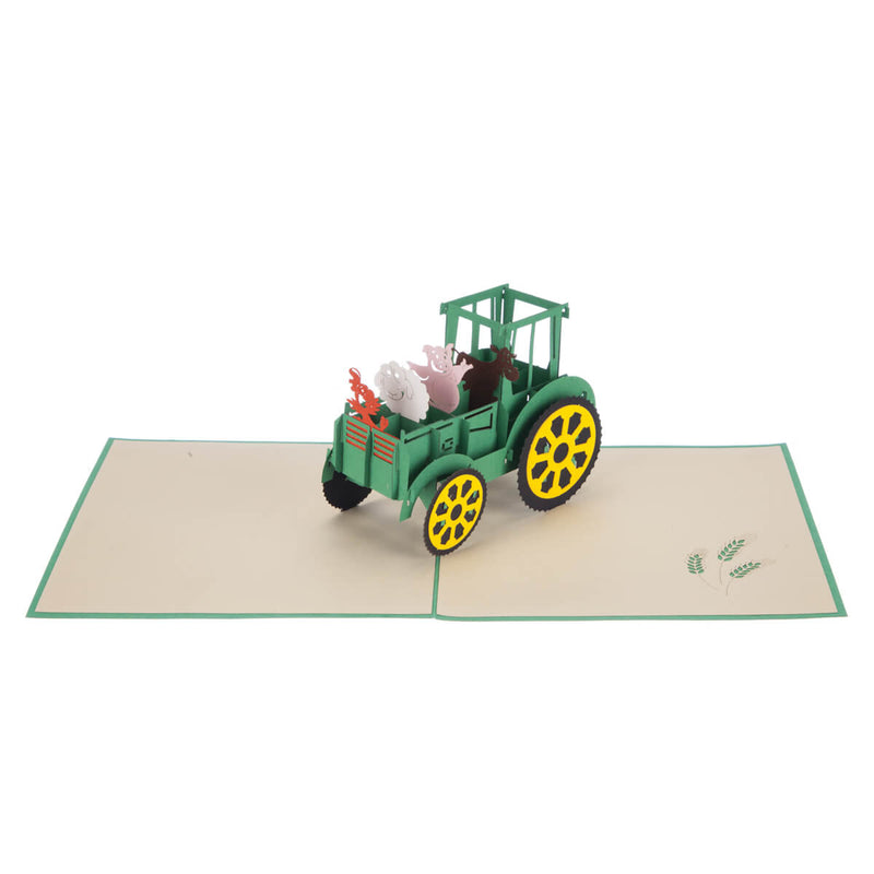 Farm Yard Animals Pop Up Card featuring a 3D John Deere inspired tractor filled with farm animals, fully open