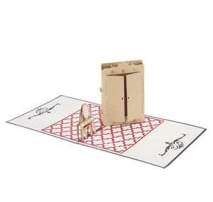 fashion lover pop up card featuring a 3D wardrobe with clothes hanging on tiny hangers inside, fully open at 180 degrees