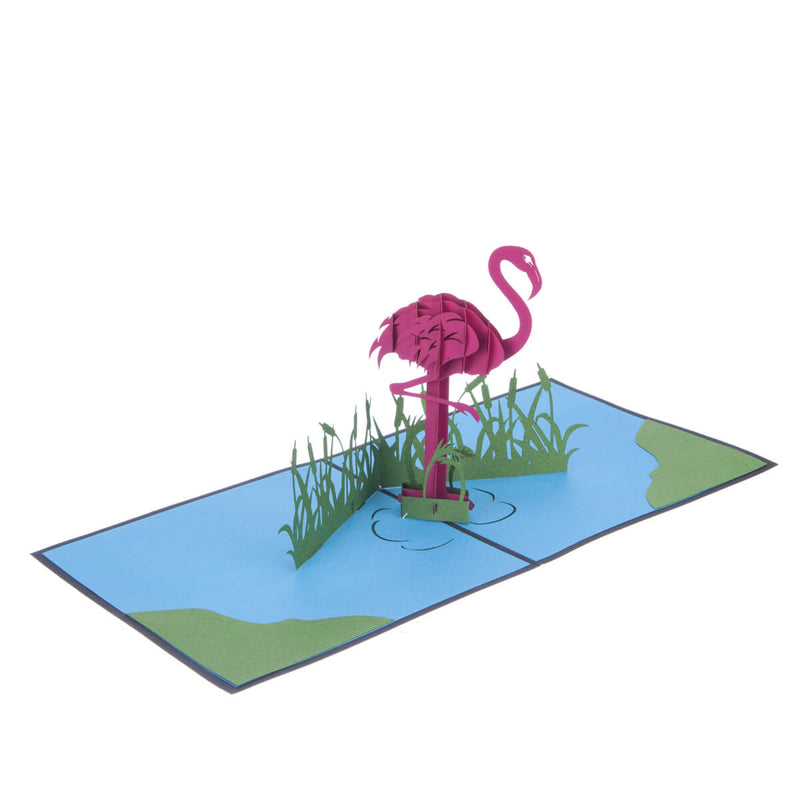 Flamingo Pop Up Card featuring a 3D vibrant pink flamingo standing in a blue lagoon, fully open at 180 degrees
