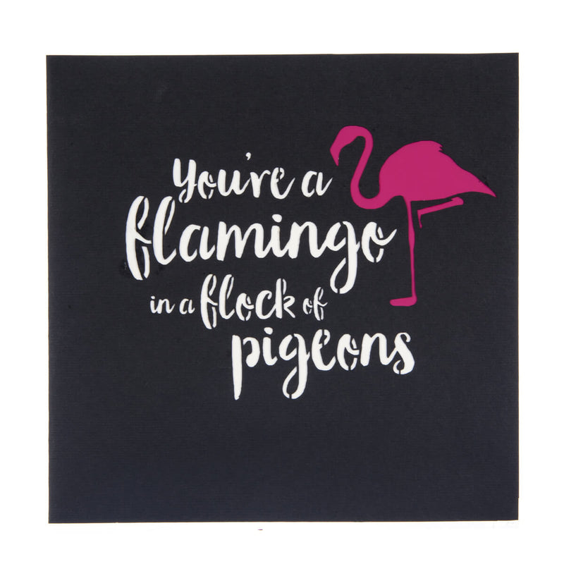 Flamingo Pop Up Card black cover which reads