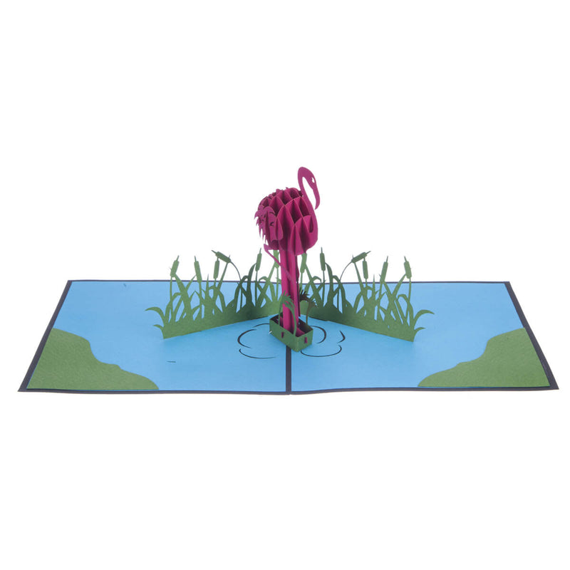 Flamingo Pop Up Card featuring a 3D vibrant pink flamingo standing in a blue lagoon, fully open