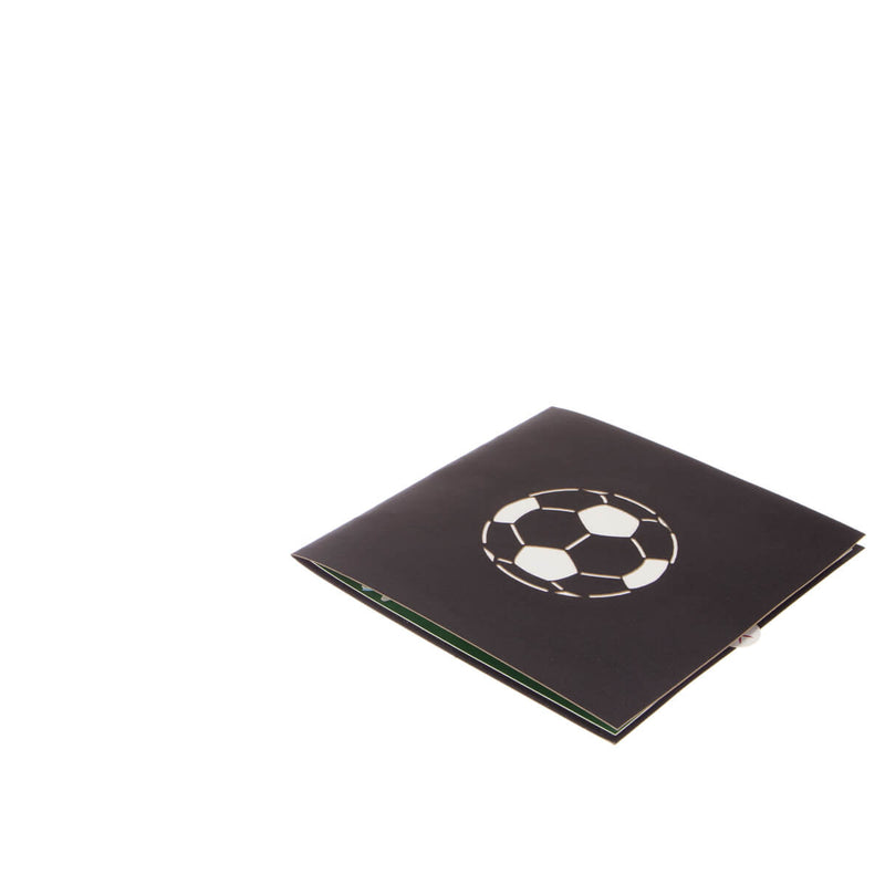 mens football pop up card fully closed and flat on a white background