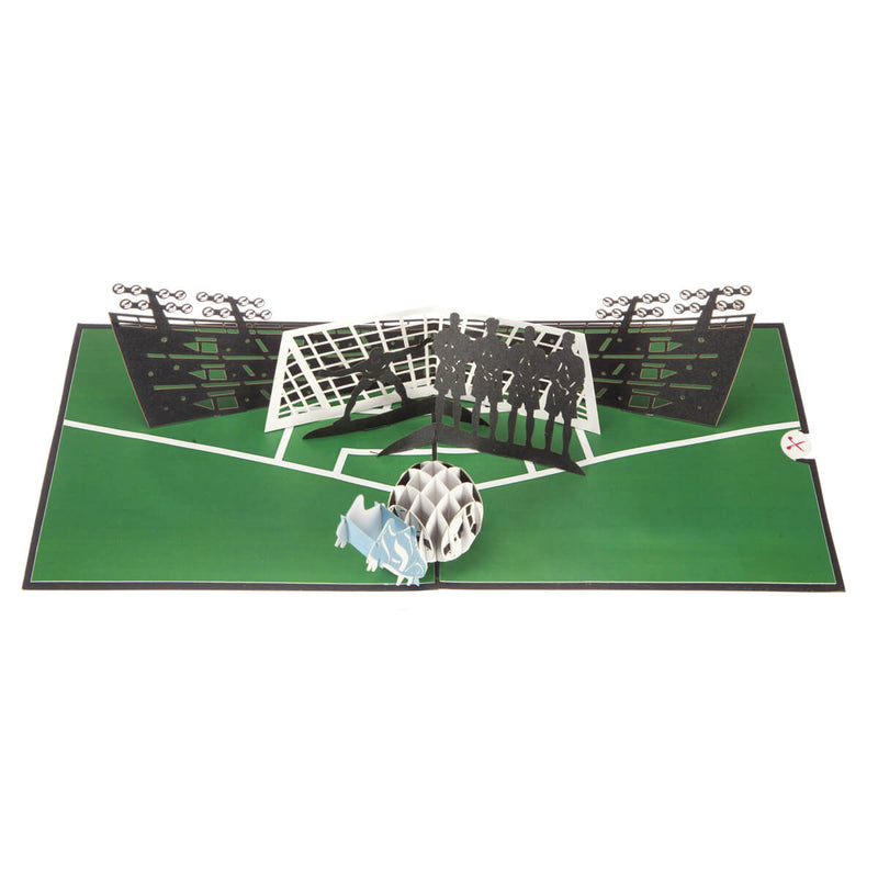 close up image of football pop up birthday card featuring a 3D football and boot taking a penalty with a line of 2D defenders and a goalkeeper, fully open at 180 degrees on a white background