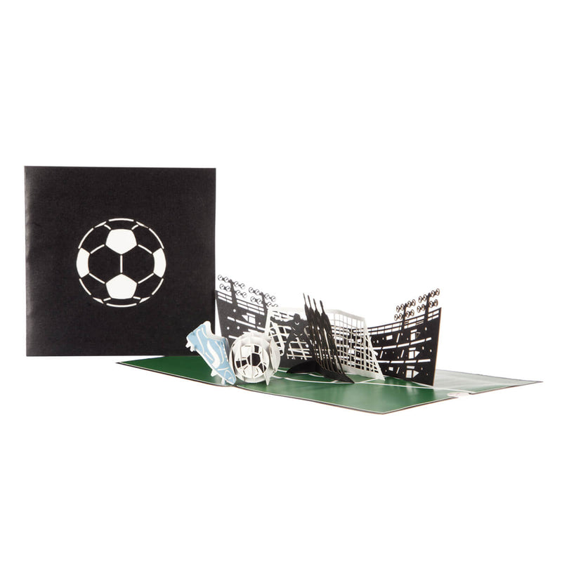 image of football pop up card fully open with cover behind it on a white background