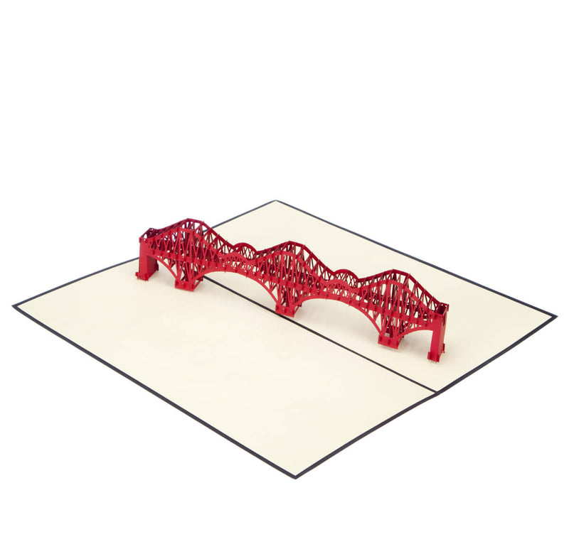 image of Forth Rail Bridge Pop Up Card fully open at 180 degrees on a white background
