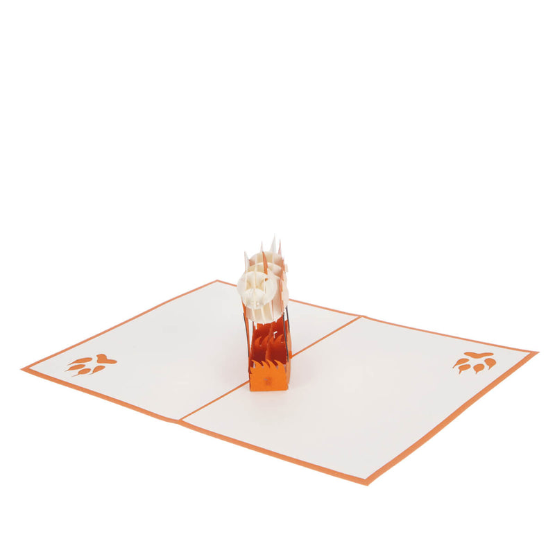 fox pop up card featuring an orange and white 3D fox, fully open at 180 degrees
