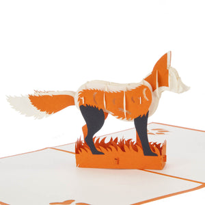 close up image of fox pop up card featuring an orange and white 3D fox