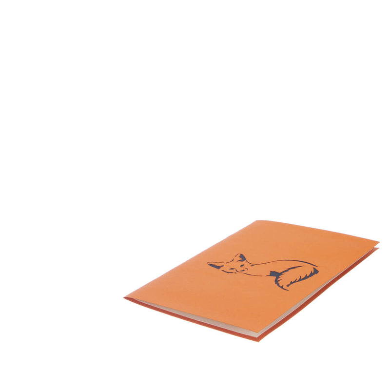fox pop up card featuring an orange and white 3D fox, fully closed and flat on white surface