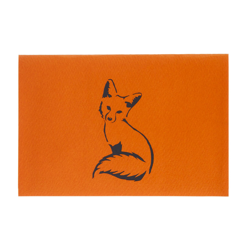 Fox Pop Up Card cover with black image of a fox on the orange cover