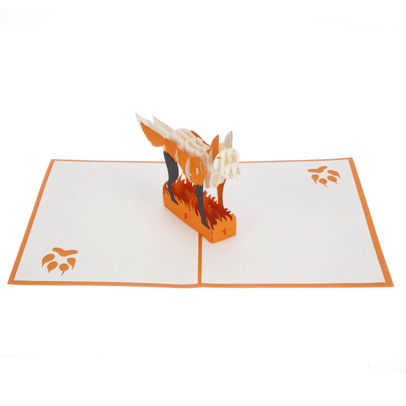 fox pop up card featuring an orange and white 3D fox, fully open
