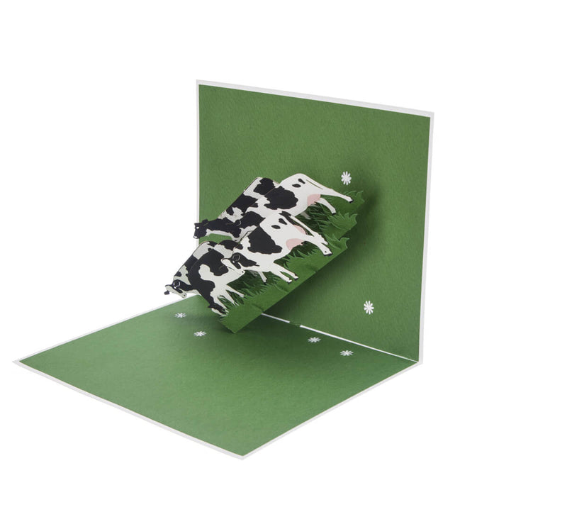 Friesian Cows Pop Up Card featuring 4 3D cows standing next to each other grazing, half open at 90 degrees