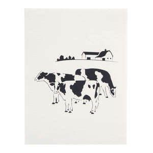 Friesian Cows Pop Up Card cover image featuring a black and white image of some cows