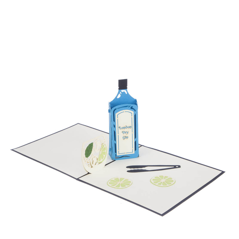 Gin Pop Up Card featuring a blue 3D Gin bottle and a 2D glass filled with lime wedges, fully opened at 180 degrees