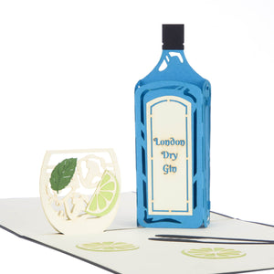 close up image of Gin Pop Up Card featuring a blue 3D Gin bottle with a 2D glass filled with lime wedges